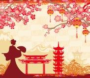 Абстрактный азиатский ландшафт и азиатская девушка иллюстрация вектора