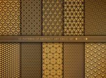 Абстрактный антиквариат стиля цветка набора картины стиля Арт Деко золота вектор eps 10 иллюстрации иллюстрация штока