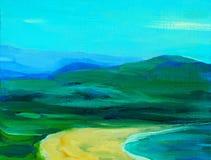Абстрактный ландшафт с горами и морем, иллюстрацией иллюстрация вектора
