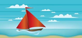 Абстрактный ландшафт с красной шлюпкой, голубым морем, белыми облаками и seashore иллюстрация вектора