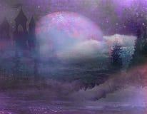 Абстрактный ландшафт с старыми замком и луной Стоковое Изображение