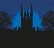 Абстрактный ландшафт с старыми замком и луной Стоковая Фотография