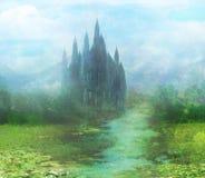 Абстрактный ландшафт с старым замком Стоковые Изображения RF