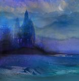Абстрактный ландшафт с старым замком Стоковые Изображения