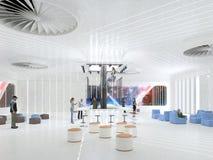 Абстрактный белый интерьер будущего иллюстрация 3D и перевод Стоковые Фотографии RF