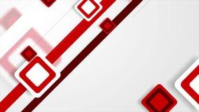 Абстрактный белый и красный техник придает квадратную форму видео- анимации