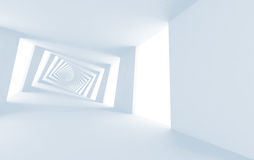 Абстрактный белый переплетенный спиральный коридор 3d Стоковая Фотография RF