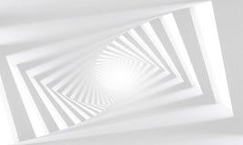Абстрактный белый переплетенный спиральный коридор 3d Стоковое Изображение