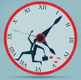 Абстрактный бизнесмен бежать против часов. иллюстрация вектора
