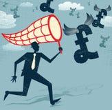 Абстрактный бизнесмен гоня и ловя сетью фунты. иллюстрация вектора