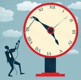 Абстрактный бизнесмен держа назад время. иллюстрация штока