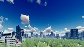 Абстрактный большой район города на дневном времени 4K бесплатная иллюстрация