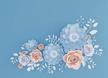 Абстрактный бумажный цветок искусства изолированный на голубой предпосылке иллюстрация штока