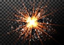 абстрактный вектор взрыва предпосылки Яркий взрыв в темноте Накаляя яркий свет График цифров для брошюры, вебсайта Стоковая Фотография