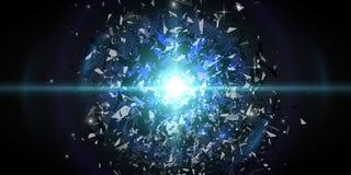 абстрактный вектор взрыва предпосылки Яркий взрыв в темноте Накаляя яркий свет График цифров для брошюры, вебсайта Стоковое фото RF