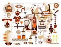 абстрактный вектор иллюстрации фабрики кофе Стоковая Фотография RF