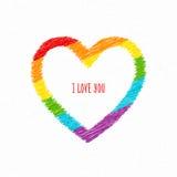 абстрактный вектор радуги иллюстрации сердца предпосылки Чертеж карандаша эскиза Флаг LGBT, культура гомосексуалиста символа Стоковое Изображение