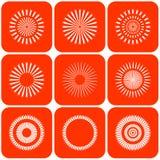абстрактный вектор солнца икон Стоковое Изображение