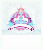 Абстрактный винтажный логотип лошадей Стоковые Фотографии RF