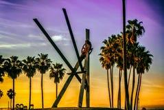 Абстрактный восход солнца на пляже Венеции Стоковая Фотография RF