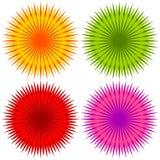 Абстрактный геометрический цветок формирует, комплект элементов 4 цветов иллюстрация вектора