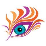 Абстрактный глаз с красочными поддельными ресницами стоковые фотографии rf
