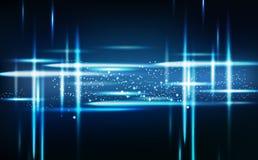 Абстрактный голубой неон световых лучей накаляя с яркими молекулами назад иллюстрация штока