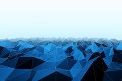 Абстрактный голубой полигональный ландшафт иллюстрация вектора