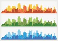 Абстрактный горизонт здания города - горизонтальная предпосылка знамени сети Силуэт города Городской пейзаж силуэта зданий Стоковая Фотография RF