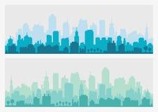 Абстрактный горизонт здания города - горизонтальная предпосылка знамени сети Силуэт города Городской пейзаж силуэта зданий Стоковые Фото