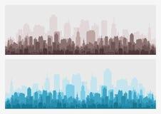 Абстрактный горизонт здания города - горизонтальная предпосылка знамени сети Силуэт города Городской пейзаж силуэта зданий Стоковые Изображения RF