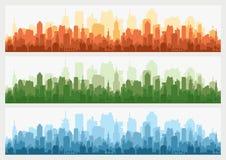 Абстрактный горизонт здания города - горизонтальная предпосылка знамени сети Силуэт города Городской пейзаж силуэта зданий Стоковое Изображение RF