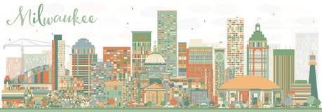 Абстрактный горизонт Milwaukee с зданиями цвета Стоковые Изображения