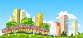 Абстрактный город вектора, здание рядка Стоковые Изображения