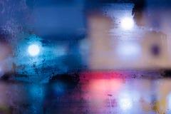 Абстрактный город ночи текстуры за стеклом Стоковые Фотографии RF