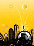 абстрактный город предпосылки в стиле фанк Стоковое Изображение