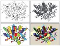 абстрактный город самомоднейший Стоковые Изображения