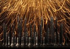 Абстрактный город винтов на черноте Стоковая Фотография