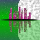Абстрактный городок с луной Стоковая Фотография RF