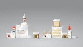 Абстрактный город сделанный из бумажных кубов с космосом для текста Стоковые Изображения RF