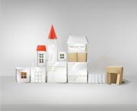 Абстрактный город сделанный из бумажных кубов с космосом для текста Стоковая Фотография RF