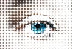 Абстрактный голубой глаз женщины сделанный от точек. Вектор Стоковое Изображение
