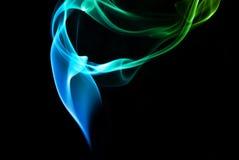 Абстрактный голубой и зеленый дым Стоковая Фотография RF