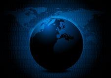 Абстрактный глобус с цифровой иллюстрацией вектора предпосылки кода некоторое из этого изображения поставленный NASA Стоковая Фотография