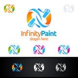 Абстрактный дизайн логотипа вектора картины дома безграничности Стоковая Фотография RF