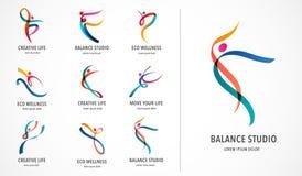 Абстрактный дизайн логотипа людей Спортзал, фитнес, логотип идущего вектора тренера красочный Активный фитнес, спорт, значок сети иллюстрация вектора
