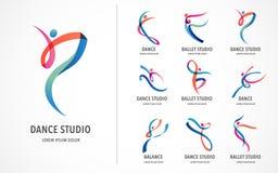 Абстрактный дизайн логотипа людей Спортзал, фитнес, логотип идущего вектора тренера красочный Активный фитнес, спорт, значок сети бесплатная иллюстрация