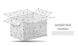 Абстрактный дизайн открытой коробки, в форме линий и пунктов иллюстрация вектора