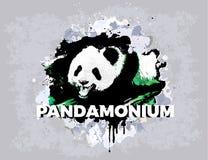 Абстрактный дизайн grunge панды Печать для тенниски Животные современные атрибуты стиля Медведь панды искусства вектора иллюстрация штока