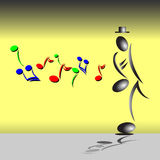 Абстрактный джазовый музыкант играя саксофон бесплатная иллюстрация